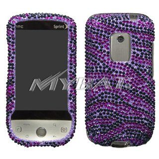 HTC Hero CDMA Cell Phone Full Crystal Diamonds Bling Protective Case Cover Purple and Black Zebra Animal Skin Design Cell Phones & Accessories