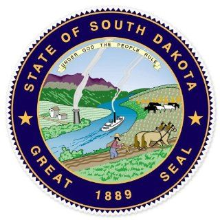 "South Dakota State Seal car bumper sticker 4"" x 4"" Automotive"