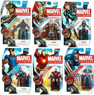 Marvel Universe 3 3/4 Inch Series 7 Set of 6 Action Figures Capt. America, Iron Man, Luke Cage, Bucky, Black Widow & Thor Toys & Games