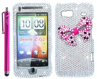 The Friendly Swede (TM) Pink Ribbon Bow Tie Silver Rhinestones 3D Bling Case Cover Skin for HTC Desire Z / T Mobile G2 Google / HTC Vanguard + Stylus + Screen Protector in Retail Packaging Cell Phones & Accessories
