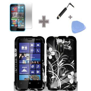Zizo (TM) Rubberized Black White Silver Vine Flowers Snap on Design Case Hard Case Skin Cover Faceplate with Screen Protector, Case Opener and Stylus Pen for Nokia Lumia 620 Cell Phones & Accessories