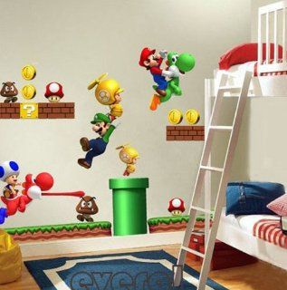 Shop Super Mario Bros Kids Removable Nursery Home Decor Wall Sticker Decals at the  Home D�cor Store