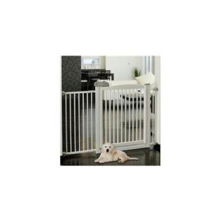 Richell 94161 Extra Wide Tension Mount Pet Gate   White Dogs