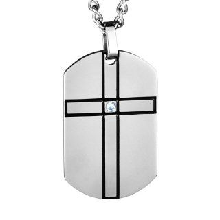 Crucible Men's Stainless Steel Cross Dog Tag with CZ Pendant Necklace   24 Inch Curb Chain Pendant Necklaces Jewelry