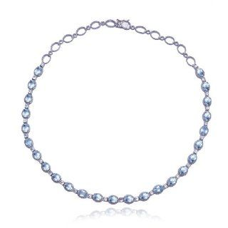 "Sterling Silver Blue Topaz and White Topaz Necklace, 18"" Jewelry"