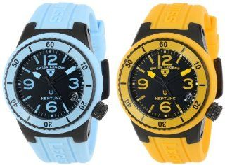 Swiss Legend Women's 11840P BB 01 BBL YL SET Neptune Black Dial Light Blue Silicone Band Watch Set Watches