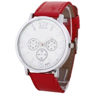 Chinadiscountstore Unisex Boys Girls Dial Sport Analog Quartz Wrist Watch Red Watches