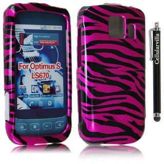FOR Lg Optimus S Ls670 Pink Black Zebra Design Hard Case Cover + Stylus Touch Pen Cell Phones & Accessories