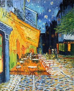 "Hand Painted Canvas Art Cafe Terrace at Night   Small 8"" X 10"""