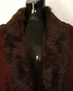Baby Alpaca / Cashmere Shawl with Real Rabbit Fur Trim Chocolate (A 6) Clothing
