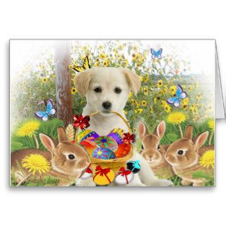 Yellow Labrador Retriever Easter Friends Greeting Cards