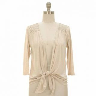 Luxury Divas Light Beige 3/4 Long Sleeve Cardigan Shrug With Lace Shoulders