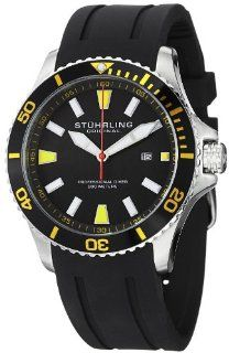 Stuhrling Original Men's 706.04 Aquadiver Regatta Diver Sport II Quartz Date Yellow Accent Rubber Strap Watch Watches