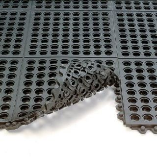 Wearwell 24/Seven Anti Fatigue Mat   Cutting Fluid Resistant Rubber   Drainage Tile   3X3'   Black