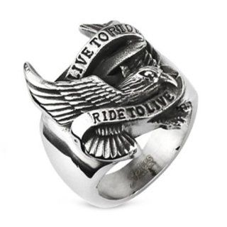 "10MM Polished Stainless Steel Biker Ring With Eagle and ""LIVE TO RIDE, RIDE TO LIVE"" Engraved in front Mens Biker Rings Jewelry"