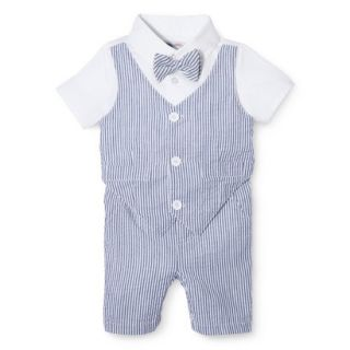 G Cutee Newborn Boys Short Sleeve Seersucker Romper   Nautical Blue 0 3 M