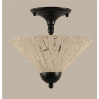 Toltec Lighting 120 MB 709 Two Light Semi Flush Mount, Matte Black Finish with Italian Ice Glass   Ceiling Pendant Fixtures