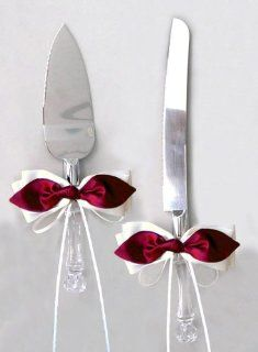 Red Satin Bow White Ribbon Cake Knife and Server Set for Wedding or Ceremony Kitchen & Dining