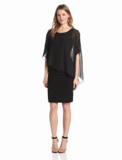 Adrianna Papell Women's Drape Overlay Shutter Dress, Black, 4