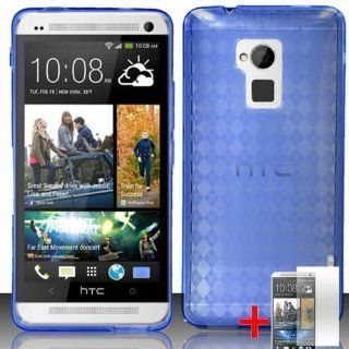 HTC ONE MAX BLUE PLAID TPU RUBBER COVER SOFT GEL CASE + FREE SCREEN PROTECTOR from [ACCESSORY ARENA] Cell Phones & Accessories