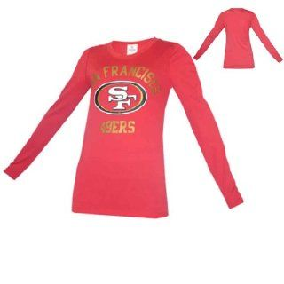 WOMENS Pink Victoria's Secret NFL San Francisco 49ers Long Sleeve Tee Large Red  Tennis Shirts  Sports & Outdoors