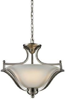 Z Lite 704SFC BN Lagoon Three Light Pendant, Steel Frame, Brushed Nickel Finish and Matte Opal Shade of Glass Material   Ceiling Pendant Fixtures