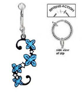 Fake Belly Navel Non Clip on Blue Flower Unique Swirl Vine tattoo like Dangle Ring Body Piercing Barbells Jewelry