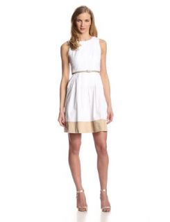 Nine West Women's Sleeveless Pleated Dress with Belt