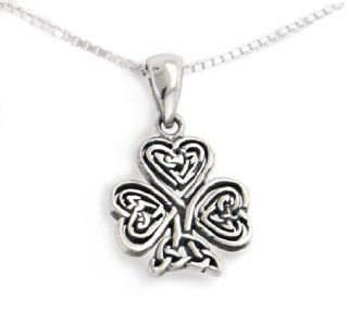 "Celtic Knot Irish Shamrock 3 Leaf Clover Sterling Silver Pendant with 18"" Necklace Silver Insanity Shamrock Jewelry"