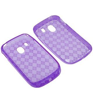 BW TPU Sleeve Gel Cover Skin Case for Tracfone LG 500G  Purple Checker Cell Phones & Accessories