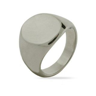 Mens Oval Cut Stainless Steel Signet Ring Eve's Addiction Jewelry