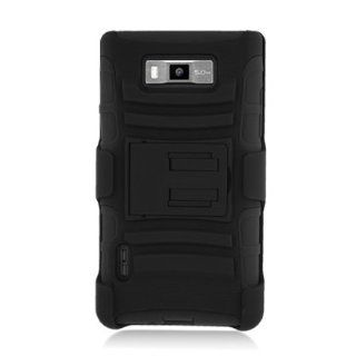 [ManiaGear] Black/Black Combat Heavy Duty Case for LG Optimus Select AS730 + ManiaGear Screen Protector Cell Phones & Accessories