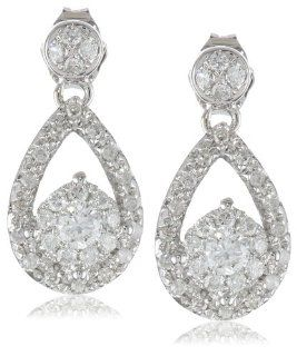 14k White Gold Teardrop Diamond Earrings (1/2 cttw, H I Color, I2 Clarity) Drop Earrings Jewelry