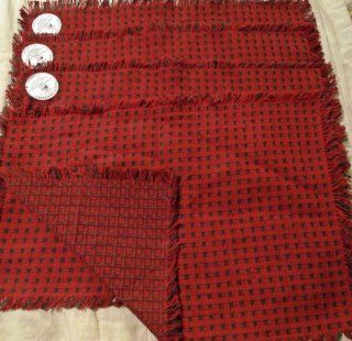 "Set 4 Cranberry & Evergreen 100% Cotton Hand Woven Placemats 13"" X 19""   Place Mats"