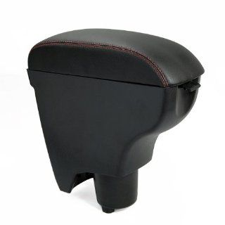 Black Leather Red Line Center Console Armrest Box for 06 10 Toyota Yaris Brand New with Cup Holder Latch 2006 2007 2008 2009 2010 Automotive