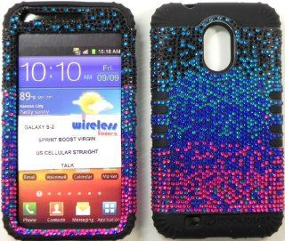 Heavy duty double impact hybrid Cover case Multi color Bling hard snap on over Black soft silicone with Touch Pen, Zebra Earpiece, Winder and multi fiber cleaning cloth for SAMSUNG S2 Galaxy EPIC 4G TOUCH D710 R760 for SPRINT/BOOST MOBILE/VIRGIN MOBILE/US