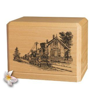 Train Depot Classic Maple Wood Cremation Urn Home & Kitchen