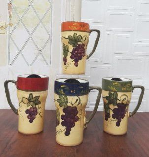 "Set of 4 Hand Painted Colorful Grapes Ceramic Travel Coffee Mugs w/Lid 6 1/4""H, 84098 by ACK Kitchen & Dining"