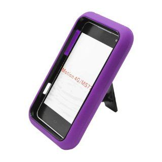 Eagle Cell PALGMS770SPSTBKPL Advanced Rugged Armor Hybrid Combo Case with Kickstand for LG Motion 4G / Optimus Regard MS770   Retail Packaging   Black/Purple Cell Phones & Accessories