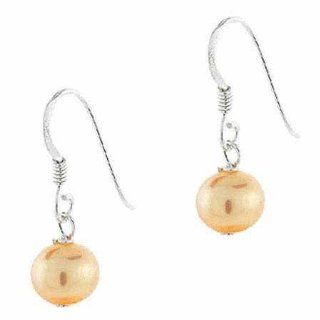 Genuine Freshwater Cultured Peach Pearl Earrings Jewelry