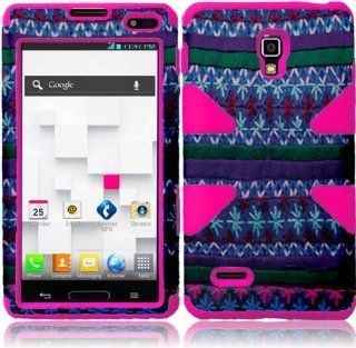 For LG Optimus L9 P769 MS769 P760 Dynamic Hot Pink Silicone With Colorful African Pattern Aztec Tribal Hard Impact Hybrid Fusion Tuff Double Layer Cover Case Cell Phones & Accessories