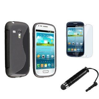 eForCity Black S Shape TPU Rubber Case with FREE LCD Cover + Stylus Pen Compatible with Samsung© Galaxy S III Mini I8190 Cell Phones & Accessories