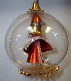 West German Mouth blown Glass Round Ball Christmas Ornament with Santa Inside