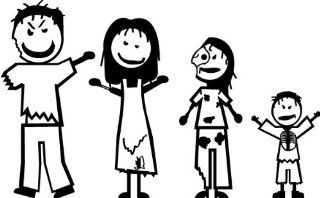 Zombie Stick Figure Family   Kids Booster Pack