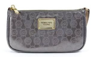 Michael Kors Jet Set Large Pouchette Wristlet Mono Patent Light Grey Purse Shoes