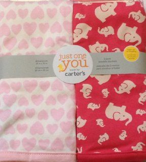 Carter's Infant Baby Newborn 2 pack swaddle Blanket Set (Hearts, Elephants) Pink, Girl Blankets  Nursery Blankets  Baby