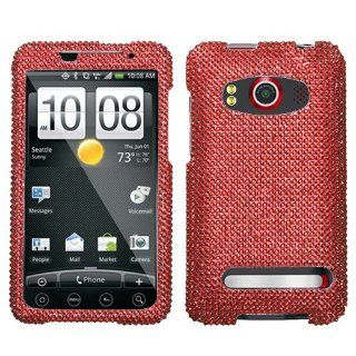 HTC EVO 4G PC36100 Cell Phone Snap on Cover Red Full Diamond Cell Phones & Accessories