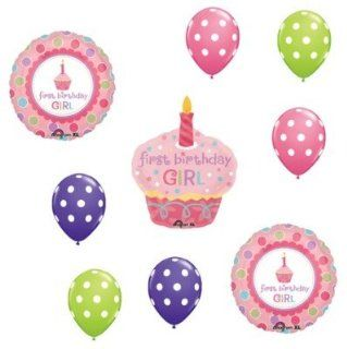 1 1st GIRL Birthday SWEET CUPCAKE Dot Party BALLOONS Health & Personal Care