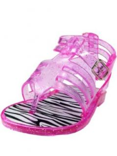 Gladiator Infant Girls Sparkle Jelly Thong Sandals with Zebra Footbed by Stepping Stones   Pink   6 Infant / 18 Mths 24 Mths Shoes