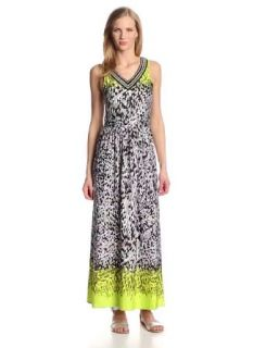 NY Collection Women's Sleeveless Maxi Dress with Embellished V Neck, Lime Cobble, Medium